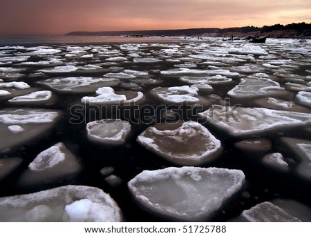 ice floes in the Baltic Sea