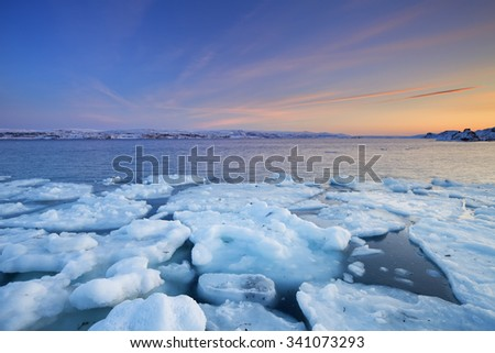 Ice floes on the Arctic Ocean in Norway, photographed at the Porsangerfjord in Norway at sunset.