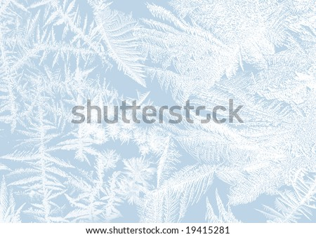 Ice-flower frosting on a window in soft pastels