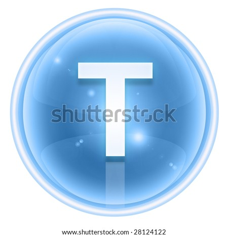 Ice font icon. Letter T, isolated on white background