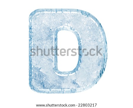 Ice font. Letter D.Upper case.With clipping path.