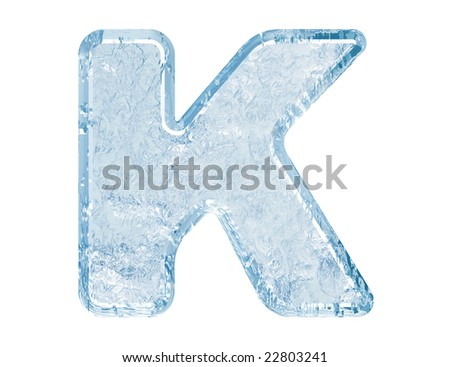Ice font. Letter K.Upper case.With clipping path.