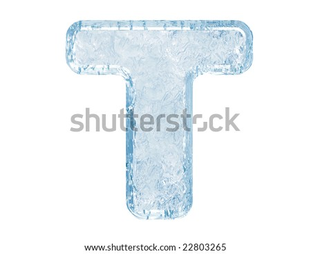 Ice font. Letter T.Upper case.With clipping path.
