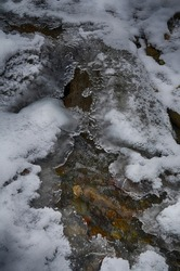 Ice-free little river in winter. Stream of river water. The snow cover. Winter abstract background.