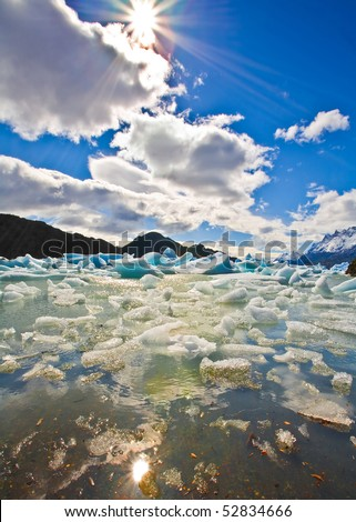 ice gets ashore from glacier grey, torres del paine national park