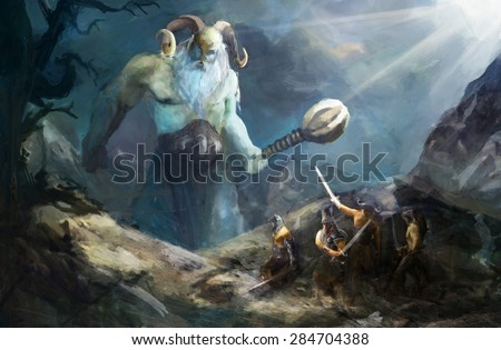Stock Photo ice giant attacking Norse warriors