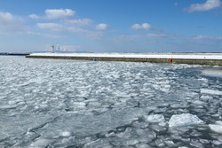 Ice glacier floating on the sea. Glacier background. Winter frozen scene.