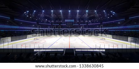 Ice hockey arena interior angle view illuminated by spotlights. Hockey and skating stadium indoor 3D render illustration background.