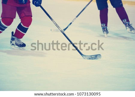 ice hockey player in action kicking with stick #1073130095
