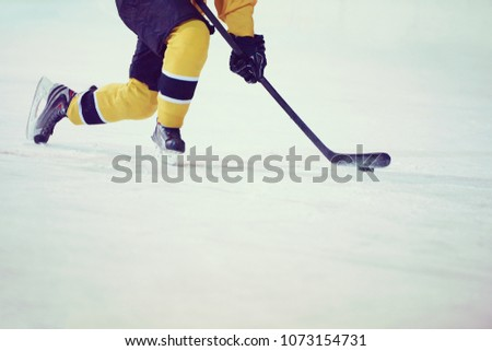 ice hockey player in action kicking with stick #1073154731