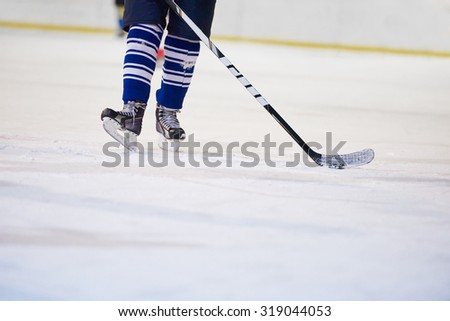 ice hockey player in action kicking with stick #319044053