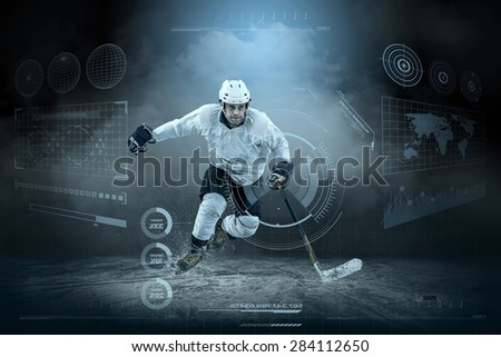 Ice hockey player on the ice around modern light #284112650