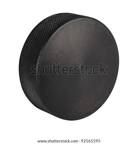 ice hockey puck in front of white background