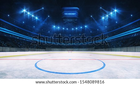 Ice hockey rink and illuminated indoor arena with fans, middle circle view, professional ice hockey sport 3D render