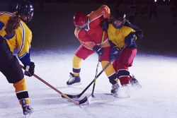 ice hockey sport players in action, business comptetition concpet, teen girls on training