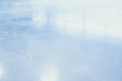 ICE HOCKEY STADIUM BACKGROUND WITH LIGHT REFLECTIONS, COLD LIGHT SLIPPERY SURFACE, GLANCE OF FROZEN WATER LEVEL
