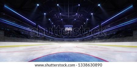 Ice hockey stadium interior goalkeeper view illuminated by spotlights. Hockey and skating stadium indoor 3D render illustration background.