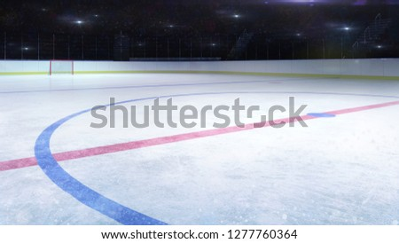 ice hockey stadium middle rink general view and camera flashes behind, hockey and skating stadium indoor 3D render illustration background