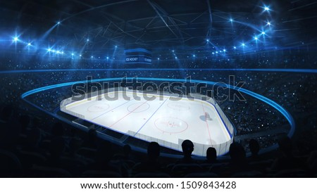 Ice hockey stadium with spotlights and crowd of fans, corner view, professional hockey sport 3D render illustration background