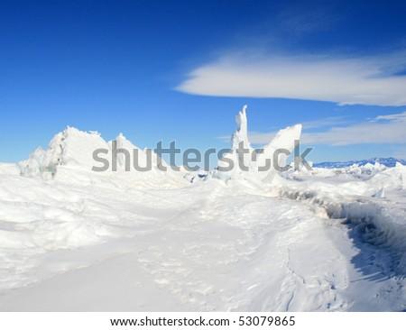 Ice hummocks - stock photo