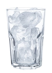 ice in glass isolated on white background