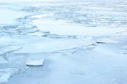 Ice in winter frozen river background