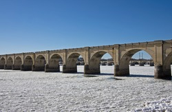Ice jams the Susquehanna River in and around the many bridges serving the city of Harrisburg PA.