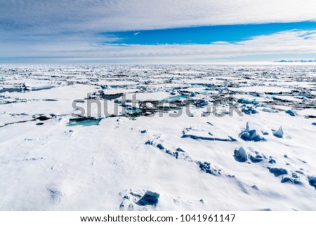 Ice landcape on the water in Arctic #1041961147