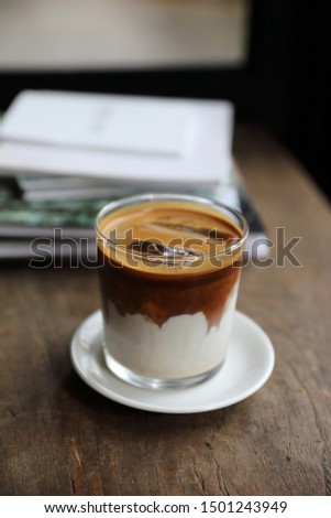 ice latte coffe on wood in coffee shop #1501243949