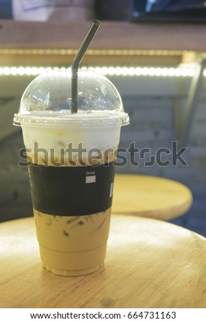 Ice latte coffee in morning time. #664731163