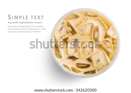 Ice latte top view close up on white background and clipping paths