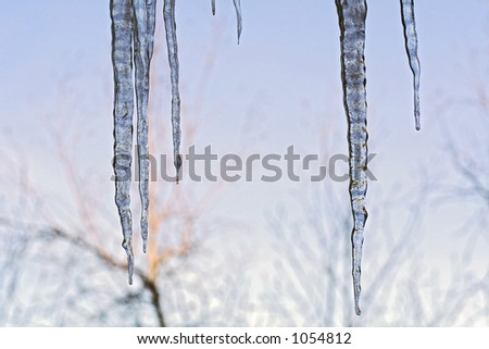 Ice melting and freezing causing beautiful icicle formations.