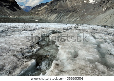 ice melting on a glacier causes a river on its surface. Global warming is causing the worlds glaciers to melt