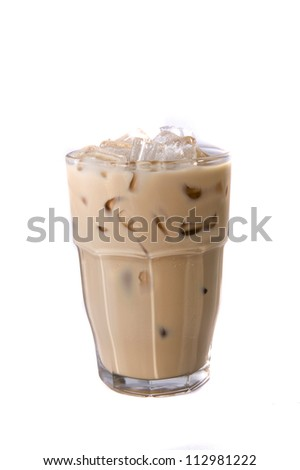 ice milk tea on white backgrounds