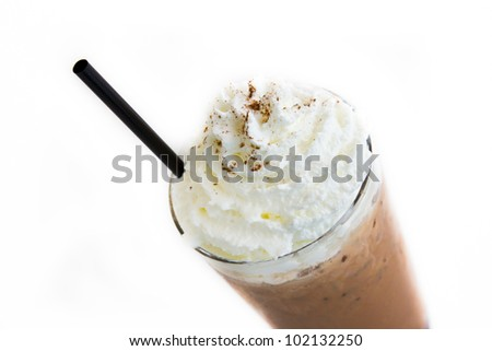 Ice Mocca with whip cream isolated on white background