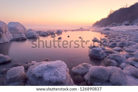 ice on the shore - stock photo