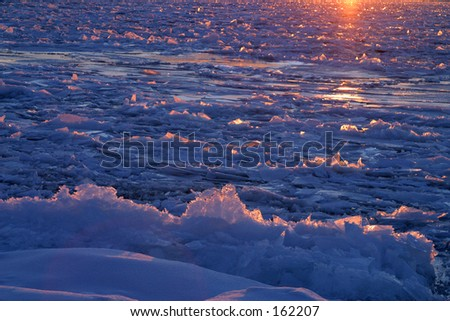Ice on the St Lawrence River at sunset.