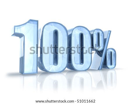Ice one hundred percent, isolated on white background. 100%