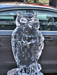 ice owl sculpture at downers grove illinois