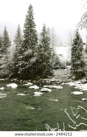 Ice packs on river in winter time