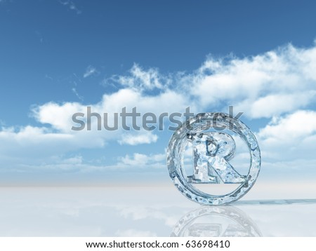 ice registered trademark symbol under cloudy blue sky - 3d illustration