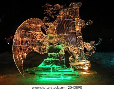 Ice sculpture at night