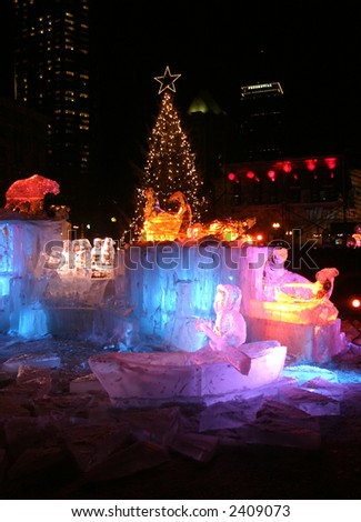 Ice sculpture display on New Year's Eve in Boston - stock photo