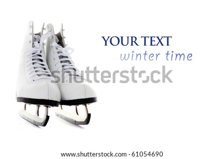 ice skate on white background - sport and leisure