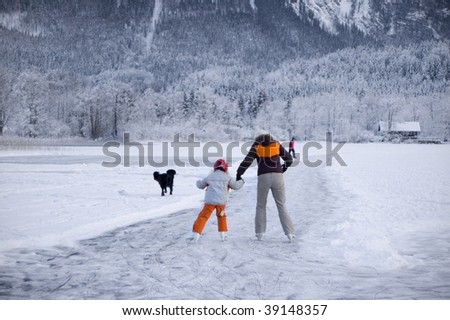 Ice Skater on a frozen Lake