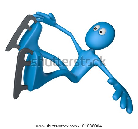 ice skating blue guy is falling - 3d illustration