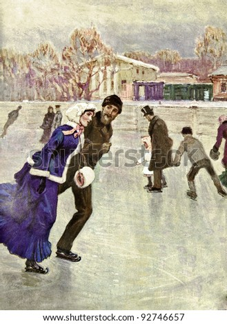 "Ice-skating. Father sitting at the bedside of his daughter. Illustration by artist Korin from book ""Leo Tolstoy ""Anna Karenina"", publisher - ""Partnership Sytin"", Moscow, Russia, 1914."