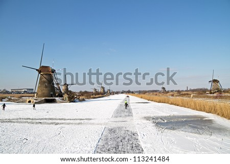 Ice skating in the countryside from the Netherlands