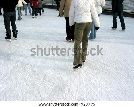 Ice skating on a city skating rink