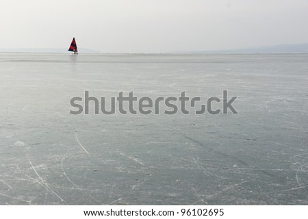 Ice skating on Neusiedler See in eastern Austria.